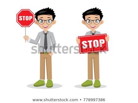 út munkás tart stoptábla illusztráció háttér Stock fotó © colematt