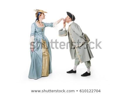 Belo casal longo medieval vestir isolado Foto stock © Lopolo