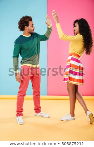 full length of two cheerful male african friends stock photo © deandrobot