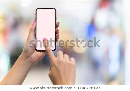 Stok fotoğraf: Eller · pembe · çivi · telefon · kadın