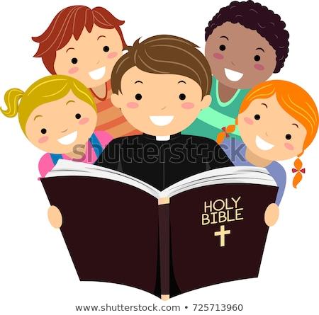 Stickman Kids Priest Bible Illustration Stock photo © lenm