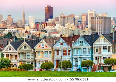 sziluett · festett · hölgyek · San · Francisco · városkép · történelmi - stock fotó © vichie81