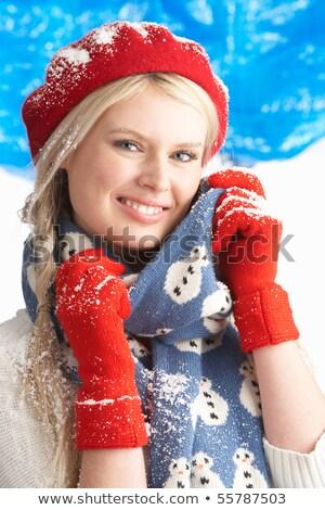 Bevroren jonge vrouw warm hoed sjaal Stockfoto © deandrobot