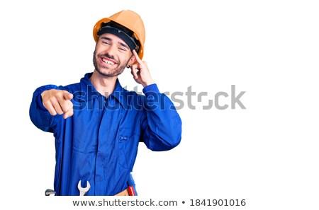 Gülen erkek teknisyen çağrı imzalamak Stok fotoğraf © AndreyPopov