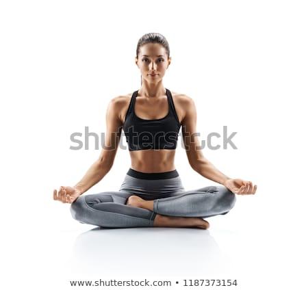 A girl meditation on white background Stock photo © bluering