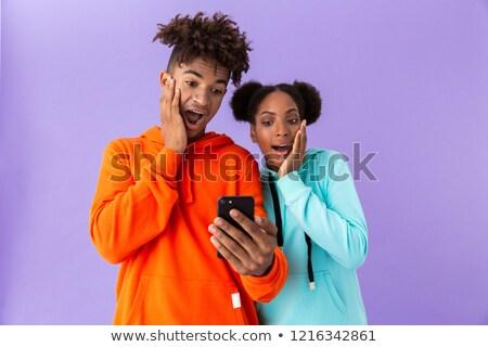 portré · meglepődött · fiatal · afro · amerikai · pár - stock fotó © deandrobot