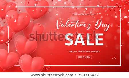 happy valentines day background red balloon in form of heart with bow ribbon and confetti vector stock photo © olehsvetiukha