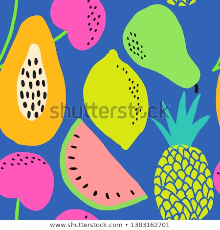 Papaya fruit seamless pattern on blue color background Stock photo © xamtiw