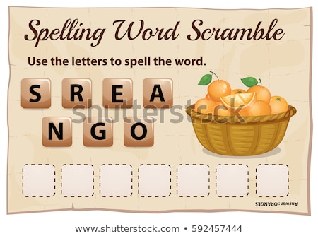 spelling word scramble game with word oranges stock photo © colematt