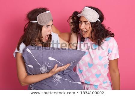 Dwa zły dziewcząt piżama stałego Zdjęcia stock © deandrobot