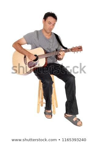 fiatal · nő · gitáros · izolált · fehér · zene · boldog - stock fotó © elnur