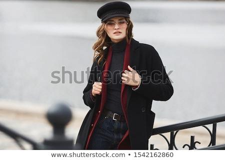 Mulher jovem preto casaco moda retrato menina Foto stock © NeonShot