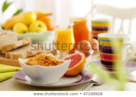 Food for Breakfast and Grapefruit Juice on Table Stock photo © robuart