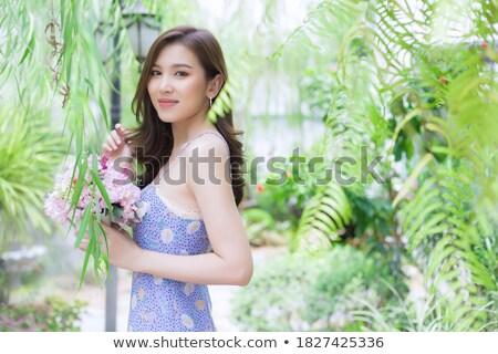 alegre · florista · retrato · jóvenes · femenino - foto stock © artfotodima