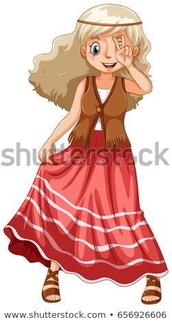 ヒッピー 少女 赤 スカート 実例 女性 ストックフォト © colematt