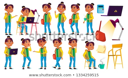 Arab, Muslim Girl Kid Poses Set Vector. High School Child. Education. Casual Clothes, Friend. For Pr Stock photo © pikepicture