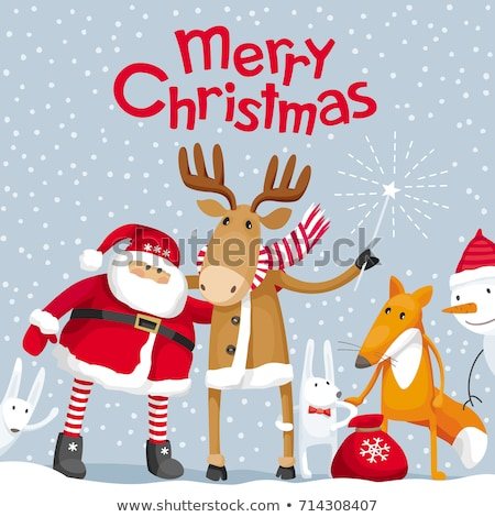 Merry Christmas Fox with Present Poster Vector Stock photo © robuart