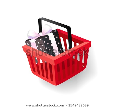 Gift Decorated with Wrapping Paper in Basket Icon Stock photo © robuart