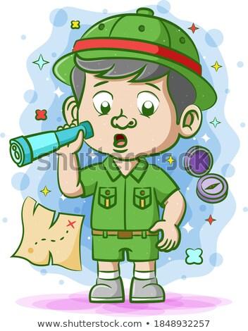 Kid мальчика лесу иллюстрация бинокль лес Сток-фото © lenm