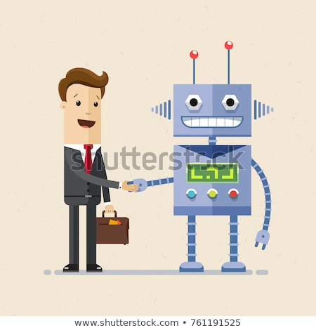 Hand of a man shaking hands with a Android robot. Stock photo © cookelma