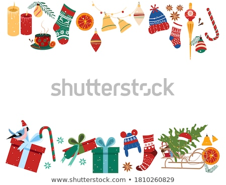 Winter Holiday Frame with Santa Stockings, Border Stock photo © robuart
