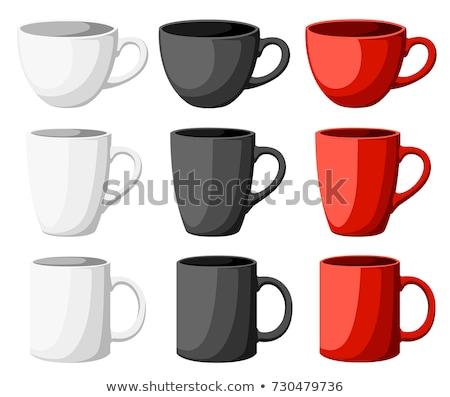 コーヒー · セット · 3D · カップ · 豆 · 孤立した - ストックフォト © pikepicture