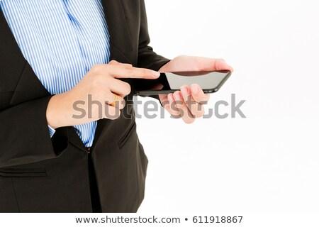 Női beszállító védősisak okostelefon izolált fehér Stock fotó © feverpitch