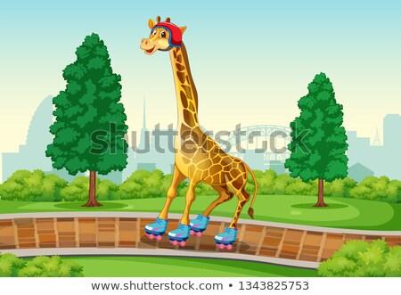 Girafă joc patina parc ilustrare copac Imagine de stoc © colematt