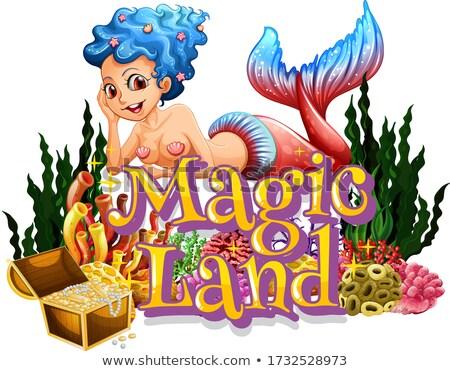 Zeemeermin onderwater scène frame illustratie vrouw Stockfoto © colematt