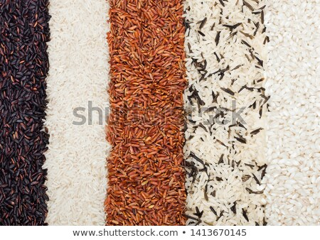 Fresh raw organic black venus and red rice,long grain basmati and wild rice.Healthy food.Macro textu Stock photo © DenisMArt