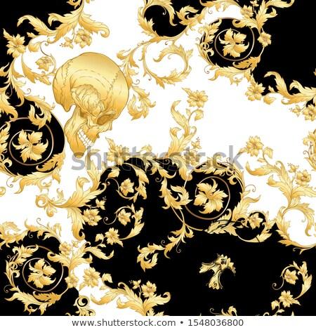 gouden · menselijke · schedel · hoofd · witte · goud - stockfoto © unweit