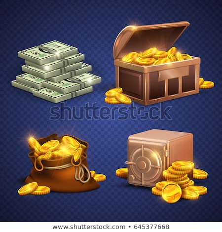 money golden coin and banknotes dollars icons set stock photo © robuart