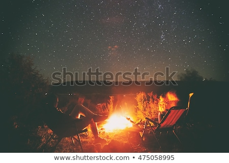 Kempingezés erdő emberek ül forró máglya Stock fotó © robuart