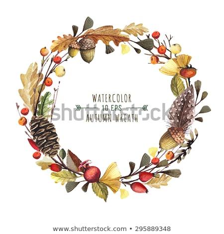 Vízfesték ősz virágmintás keret tölgy levelek Stock fotó © Artspace