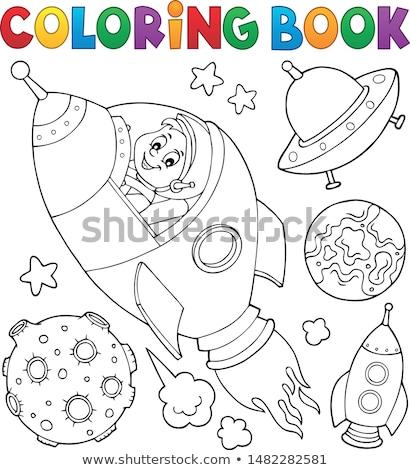 Livro para colorir espaço tópico coleção livro homem Foto stock © clairev