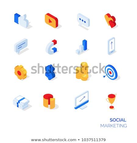Goal setting - colorful vector isometric icons set Stock photo © Decorwithme