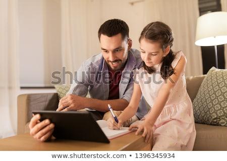 отец · дочь · домашнее · задание · вместе · образование · семьи - Сток-фото © boggy