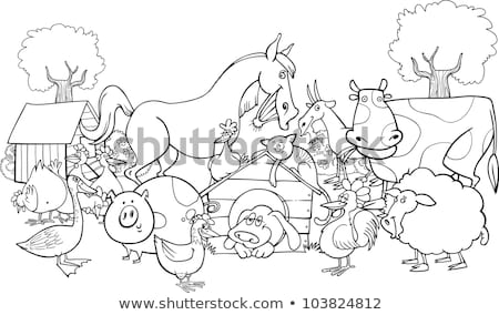 черно белые Cartoon группа иллюстрация Сток-фото © izakowski