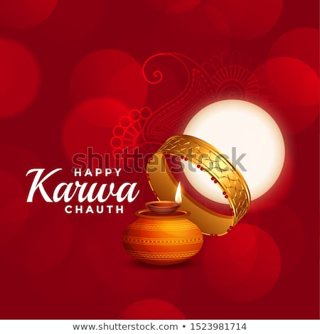 happy karwa chauth beautiful red background with full moon Stock photo © SArts
