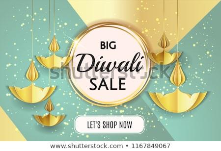 white diwali background with golden diya design Stock photo © SArts