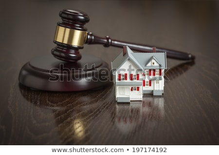 Gavel and Small Model House on Wooden Table. Stock photo © feverpitch