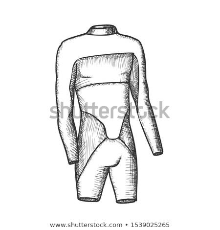 Szörfös úszik öltöny férfi monokróm vektor Stock fotó © pikepicture