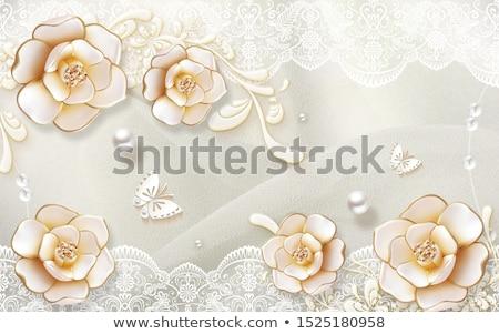Twee banners roze rozen sieraden goud Stockfoto © blackmoon979