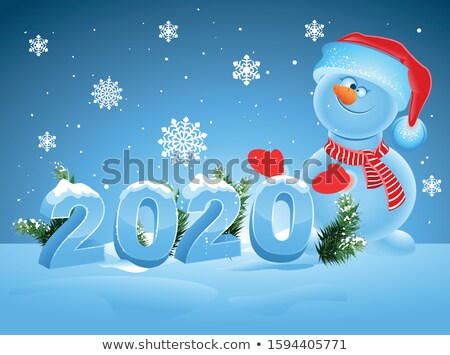 Happy new year 2020. Snowman in santa hat make ice snow number 2020 Stock photo © orensila