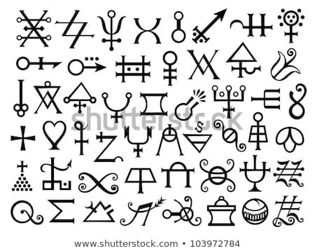Alchemical 'Flowers of Azote' Signs And Medieval Magic Symbols. Alteration (grunge vintage remake). Stock photo © Glasaigh