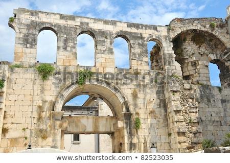 Plata puerta Croacia romana nombre ciudad Foto stock © borisb17