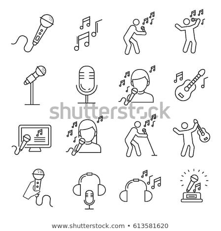 Mikrofon felszerlés énekel vektor ikon vékony Stock fotó © pikepicture