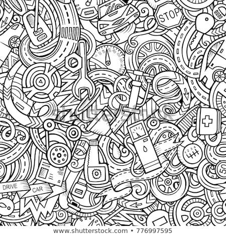 Automobilowy funny wektora bazgroły ilustracja Zdjęcia stock © balabolka