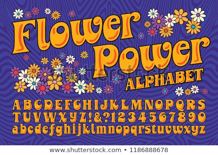 Flower power hippie menina silhueta flor verde Foto stock © jsnover