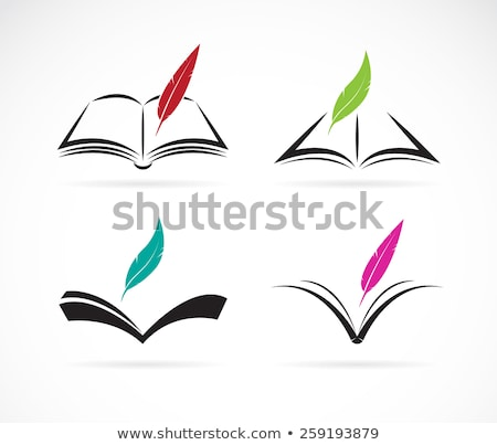 Libro abierto aislado blanco pluma educación escrito Foto stock © Filata